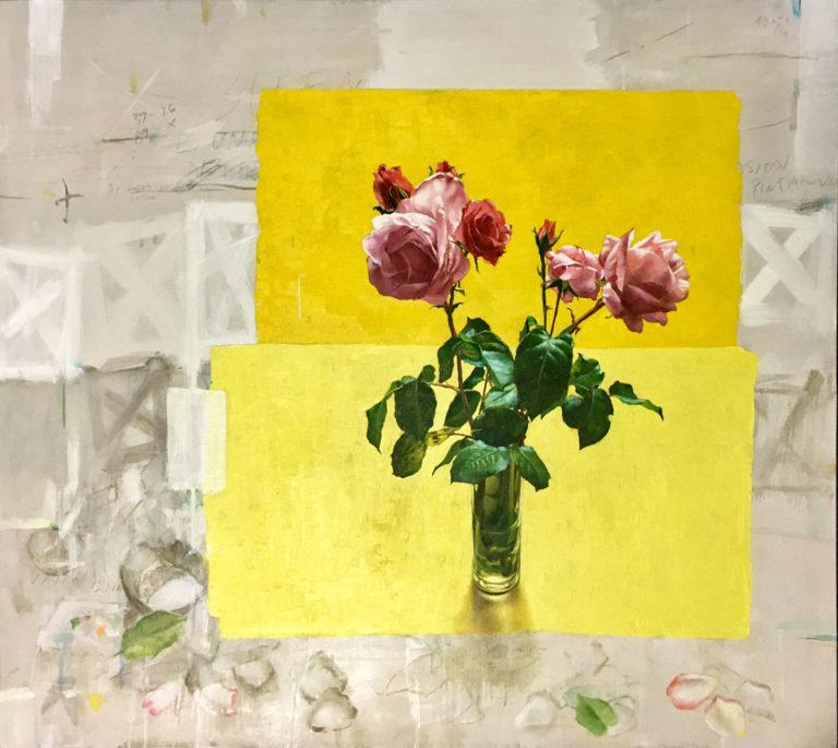 """Reproduccion gráfica , de 60 ejemplares, firmadas por Quintana Martelo. es una reproducción del óleo, que lleva su mismo título,"""" O tarro de rosas con fondo amarillo""""."""